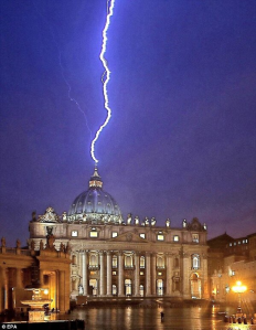 The same day Pope Benedict XVI announced his abdication, lightning struck the Vatican twice.