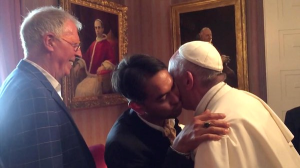 Pope Francis hugs US gay couple at the Vatican embassy, in 2015